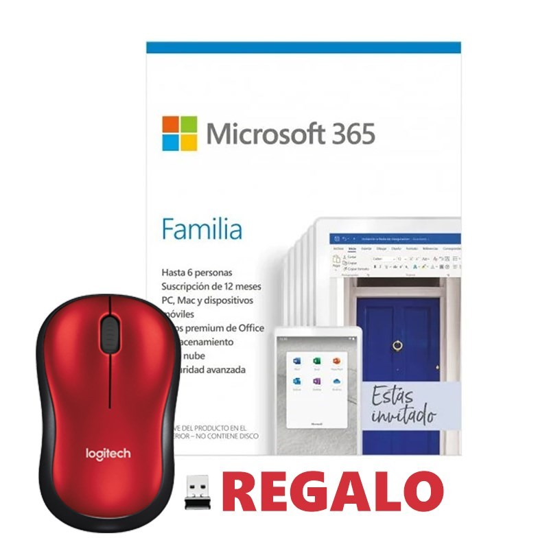 PROMO MICROSOFT OFFICE 365 FAMILY 6PC + RATON M185