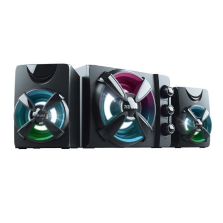 ALTAVOCES 2.1 TRUST GAMING ZIVA RGB - 11W RMS (SATELITES 2*3W + SUBWOOFER 5W) -  SUBWOOFER MADERA CON COLORIDO CICLO DE ILUMINACIÓN RGB  - CABLE USB